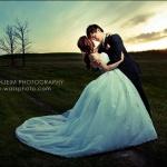 Wedding couple photograph in field