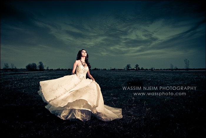 Dramatic bride swirl