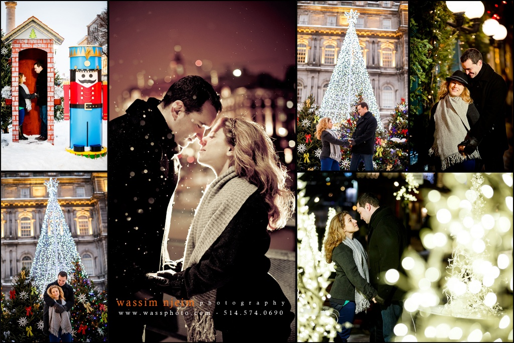 Wedding couple in Old Montreal for Christmas and Holidays session