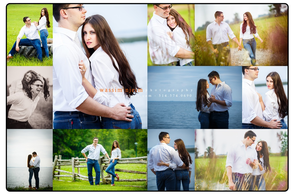 Summer casual session for a wedding couple in the fields of Montreal