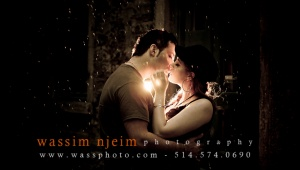 Wedding Syrian couple kissing under rain in Montreal