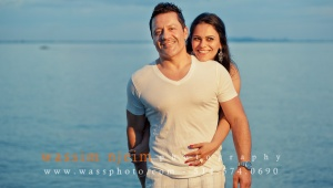 Wedding couple casual session at Sunset in water