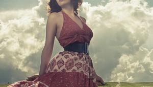 Model photograph red dress