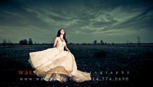 Bride swirling dress in Montreal fields