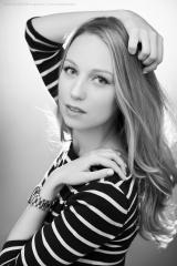 BW portrait blonde female model