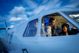 Wedding e-session inside airplane Montreal