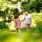 Walking pregnant couple