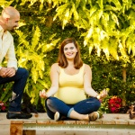Pregnant woman photo session yoga