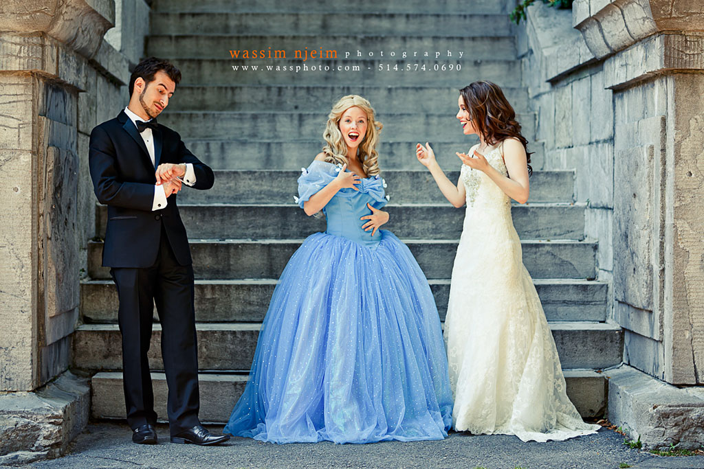 Wedding Couple Meeting Cinderella at noon in Montreal